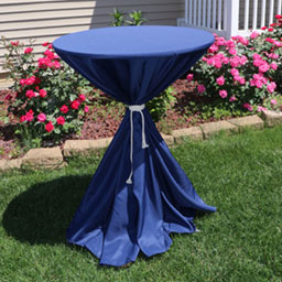 Cocktail table linen with ties
